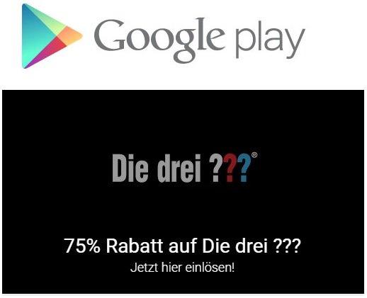 [Google Play] Die drei ??? und die 75% für ausgewählte Kunden.