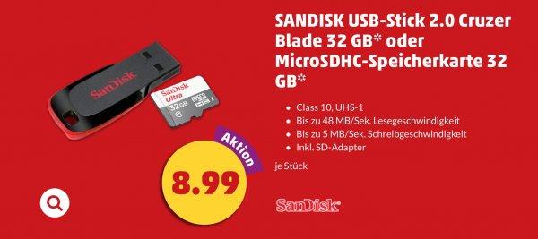 [Penny/Bundesweit] SanDisk Ultra microSDHC 32GB bis zu 48 MB/Sek, Class 10 Speicherkarte für 8,99€ ab 21.01.2016