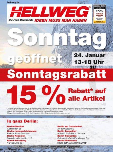 [LOKAL BERLIN?] 15% bei Hellweg Berlin Tempelhof 24.01.2016