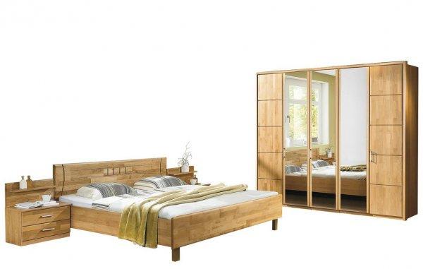 Schlafzimmer Erle-Teilmassiv, Bett 180*200 cm, Schrank 250cm breit (incl Böden,Kleiderstangen) für 671,40€ @Möbel Höffner
