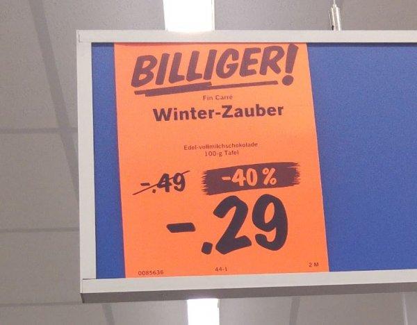 """[bundesweit?] 100g Vollmilch-Schokolade """"Winterzauber"""" mit Mandelkrokant und Apfel für 29 statt 69 Cent @ Lidl"""