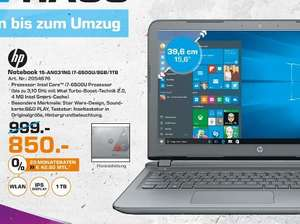 [Lokal Saturn Delmenhorst] HP Star Wars Special Edition 15-AN031NG, Notebook mit 15.6 Zoll, 1 TB Speicher, 8 GB RAM, Core i7 Prozessor, Windows 10 Home (64 Bit), Ash Silver/Star Wars-Design für 850,-€