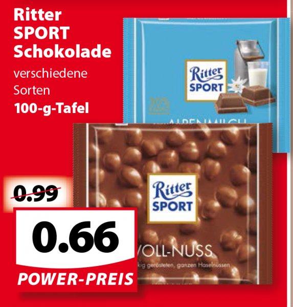 Ritter Sport 100 g Tafel verschiedene Sorten für 0.66 EUR bei Famila u. 0.69 EUR bei Netto