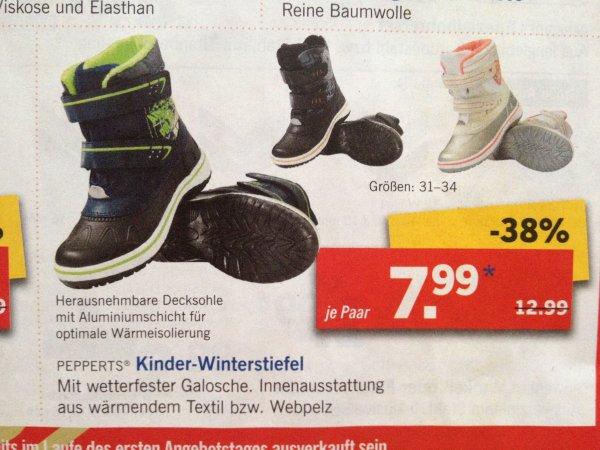 Lidl Wintersale: z.B. Kinder-Winterstiefel Gr. 31-34, 7,99€, online und offline