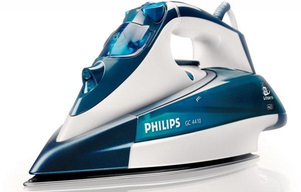 Philips GC4410/02 Dampfbügeleisen (2400 W, SteamGlide-Bügelsohle) weiß/blau 33,99€