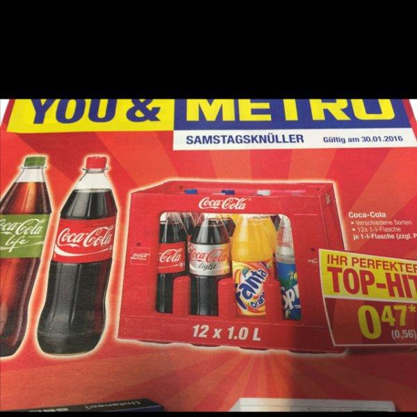 [METRO Bundesweit] Coca Cola 12x1 Liter, verschiedene Sorten (Fanta, Mezzo, Sprite) für 6,72€