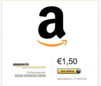1,50 € Amazon Gutschein [Ebay] ABGELAUFEN