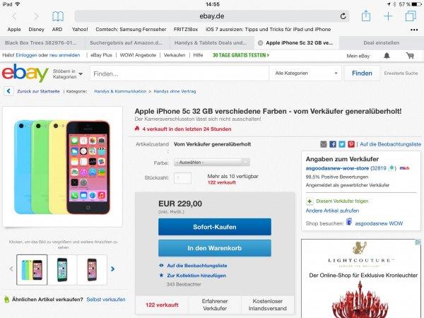 Apple iPhone 5c 32 GB verschiedene Farben - vom Verkäufer generalüberholt! Der Kameraverschlusston lässt sich nicht ausschalten!