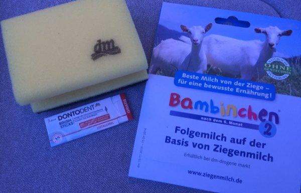 DM München Weißenburger Str.: Dontodent Zahnsticks, Putzschwämme, Babymilchpulver