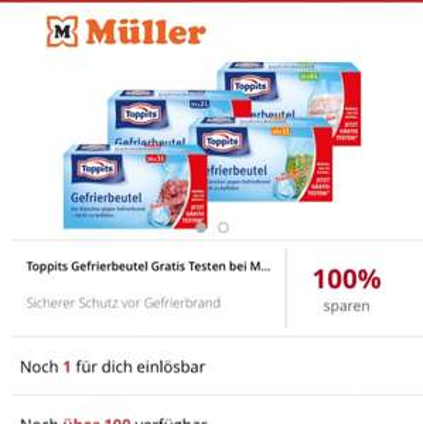 [Müller] TOPPITS Gefrierbeutel - 100% Cashback via Scondoo