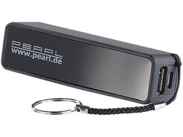 Gratis PEARL Powerbank für iPhone, Handy & USB-Geräte, 2.200 mAh, schwarz