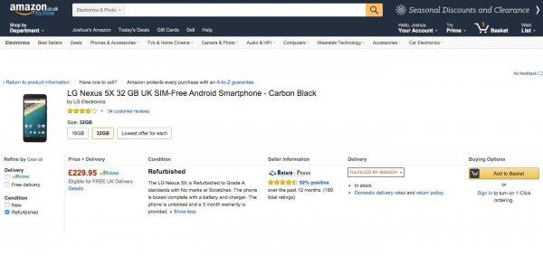 Nexus 5X 32GB Carbon refurbished in 1A Zustand @Amazon UK Marketplace / Versand durch Amazon / nur zwei verfügbar