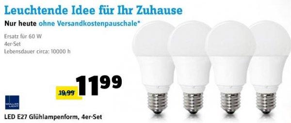 MÜLLER LICHT LED Lampen E27 10W=60W 4 Stück für 11,99€ @ Conrad