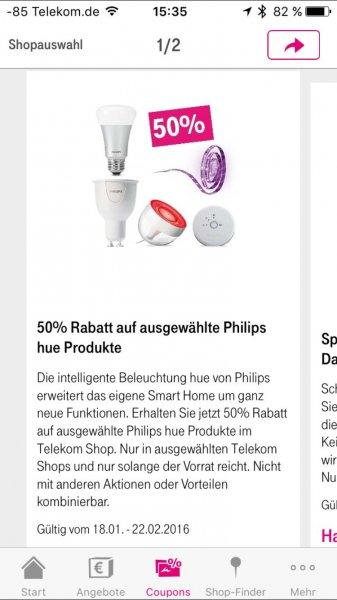 50% Rabatt auf Philips Hue in Telekom Shops