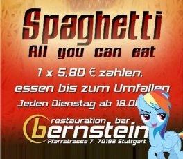 """All You Can Eat - Spaghetti (Lokal: Stuttgart / jeden Dienstag im """"Bernstein"""" / Gratis W-Lan + Gesellschaftsspiele)"""