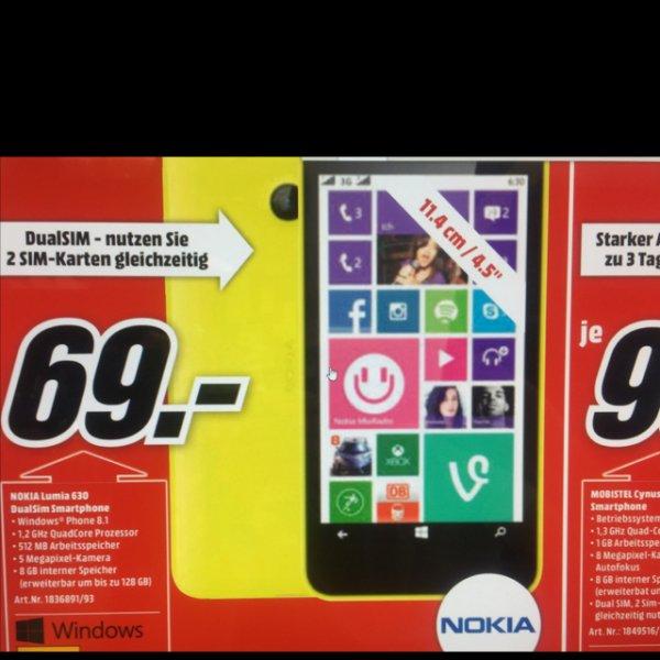 [LOKAL MEDIA MARKT] NoKia Lumia 630 Dual Sim Smartphone gelb & orange