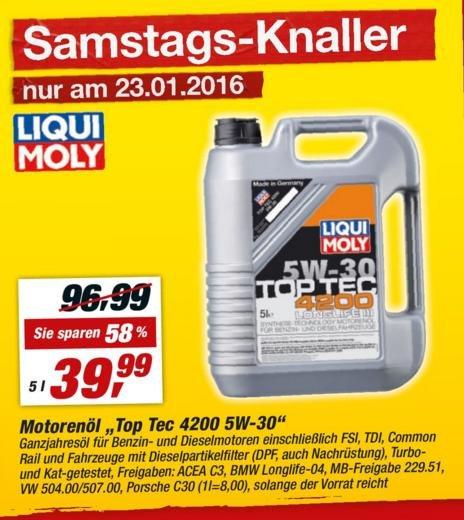 [Toom Baumarkt] 5 Liter Liquid Moly 5 W 30