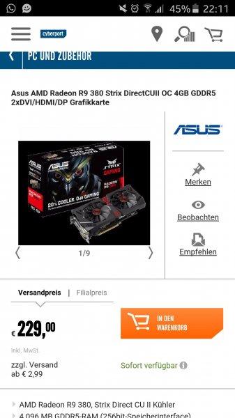 [Cyberport] R9 380 4GB Grafikkarte Effektiv nur 189€ durch Cashback!