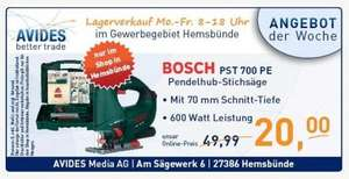 [Lokal Hemsbünde] Avides : Bosch PST 700 PE Stichsäge nur 20 Euro!!!