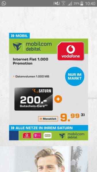 1GB Datenvolumen Vertrag Vodafone effektiv 1,67€ mtl.