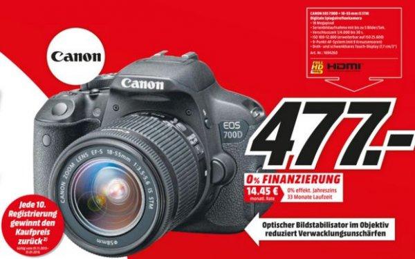 Canon EOS 700D 18 MP Digitalkamera - SLR - EF-S 18-55mm IS STM-Objektiv KIT Spiegelreflexkamera für 477,00 € [Bundesweit + Online Media Markt] + Kaufpreis zurück-Chance