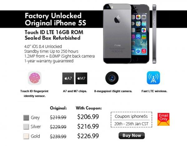 Original Apple iPhone 5s 16GB Touch ID LTE generalüberholt + 1 Jahr Garantie Farbe gold, grau od. silber + Gratis Schutzfolie 194,11€ bzw. mit Zollversicherung 204,43€ inkl. Versand @pandawill