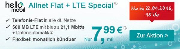 [hellomobile] Allnet-Flat und 500 MB LTE 21,1 Mbit/s - 7,99€/Monat auf Rechnung; monatlich kündbar; O2 Netz (Dealpreis entspricht 24 Monate zum besseren Vergleich)