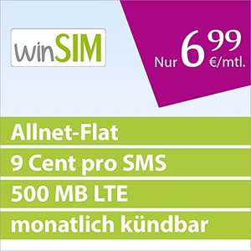 winSIM Allnet Flat Vertrag + 500 MB LTE monatlich kündbar (Telefonie-Flat, 9 Cent pro SMS, 6,99 Euro/Monat) O2-Netz