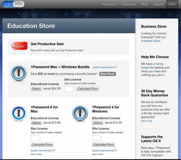 1Password für Mac oder Windows 17,44€ oder als Bundle (OS X + Win) für 21,81 über den EDU-Store + Gutschein von Agilebits (Entwickler) EDU-Status wird nicht überprüft