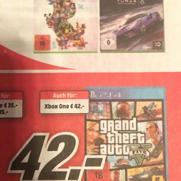 Mediamarkt Stuttgart/Esslingen und online: GTA V für PS4 oder XBOX