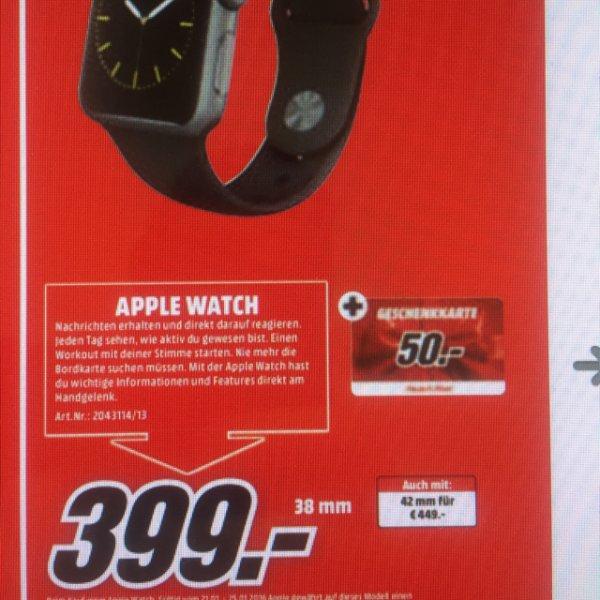 [Mediamarkt] Apple Watch 38mm für 399€ + 50€ Einkaufsgutschein