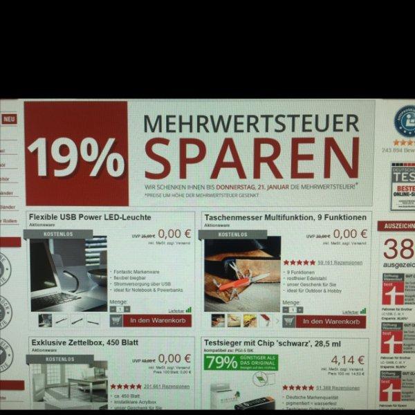 [druckerzubehör.de] 19% MwSt sparen + 3 Artikel kostenlos bekommen nur heute (21.01.15) Versand 5,97€