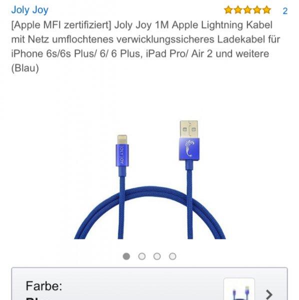 [amazon] Apple Lightning Kabel Joly Joy 1M Apple Lightning Kabel für iPhone 4,99€ mit Gutscheincode anstatt 9,99€ (Apple MFI zertifiziert, verwicklungssicher)