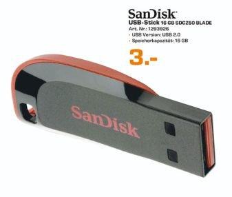 [Lokal Saturn Leipzig] Nur am 23.01...SanDisk Cruzer Blade USB-Flash-Laufwerk 16GB, USB 2.0 für 3,-€