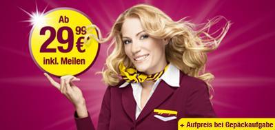 1 Mio. Flüge mit GERMANWINGS ab 29,99€ (nur bis So.!)