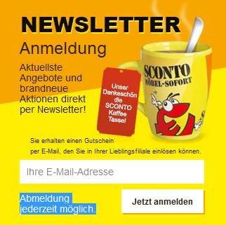 Sconto Kaffee Tasse für Newsletteranmeldung