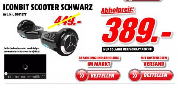 Media Markt Porta Westfalica - kostenloser Versand - IconBit Scooter statt 449€ nur 389€