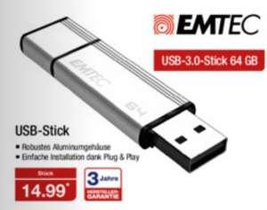 64GB  USB Stick von EMTEC für 14,99 ab 28.01 bei [ALDI-Nord]