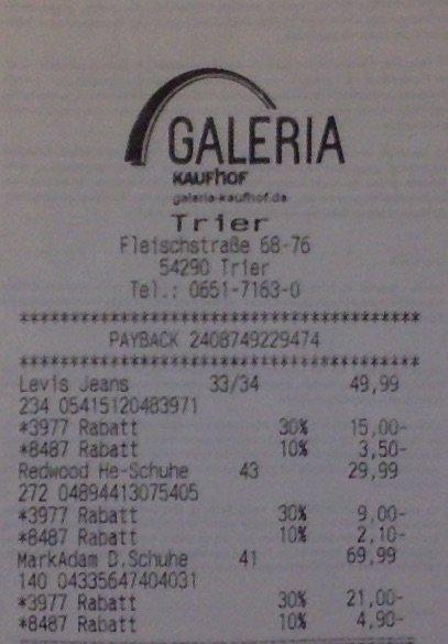 Galeria Kaufhof final Sale bis 37% mit Payback Coupon auf alles Reduzierte und auf viele weitere Kategorien