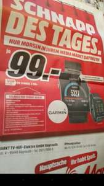[Lokal BT] Garmin vivoactive Smartwatch bei Mediamarkt Bayreuth [abgelaufen]