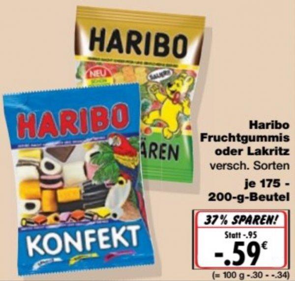 KAUFLAND[Lokal Bayern] Haribo Fruchtgummis/Lakritze 175-250g für nur 0,59€ (25.01. - 30.01.)