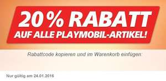 [Real,- Onlineshop] 20 % Rabatt auf Playmobil (nur heute, 24.1.)