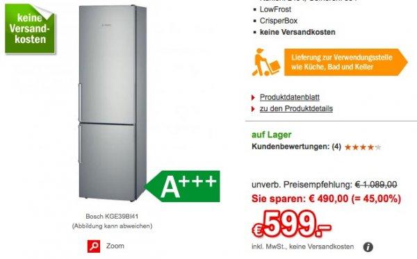 Bosch KGE39BI41 Kühl-Gefrierkombination, A+++, Edelstahl