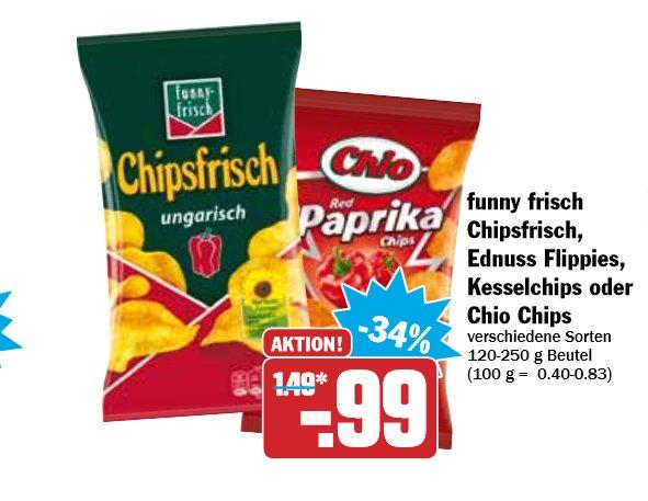 funny frisch Chipsfrisch,Ednuss Flippies,Kesselchips oder Chio Chips für 0,99€ bei Hit