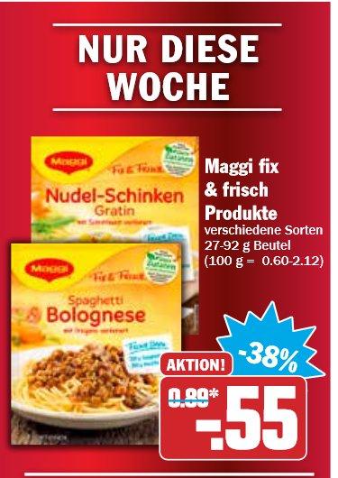 5x Maggi fix  & frisch  Produkte für nur 0,75€ (1 Tüte = 0,15€) bei Hit