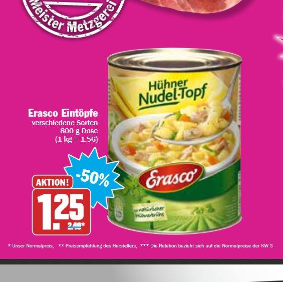 Erasco Eintöpfe für 1,25€ bei Hit