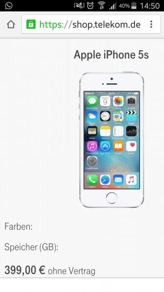 iphone 5s bei telekom für 399 euro