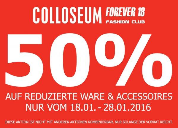 (Offline) Colloseum Stores 50% Rabat auf Reduzierte Ware & Accessoires