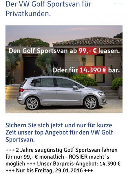 VW Golf Sportsvan Privatleasing  2 Jahre 3126 Euro 10000km per anno