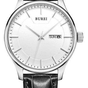 @amazon.de BUREI Herren Armbanduhr Leder schwarz SM-13001-P01AY